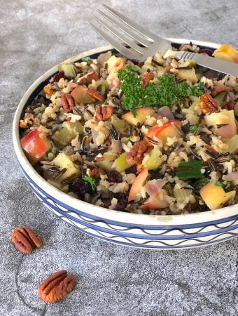Wild and brown rice pilaf with apples and pecans