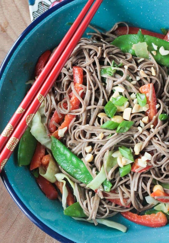 soba noodle and vegetable stir-fry