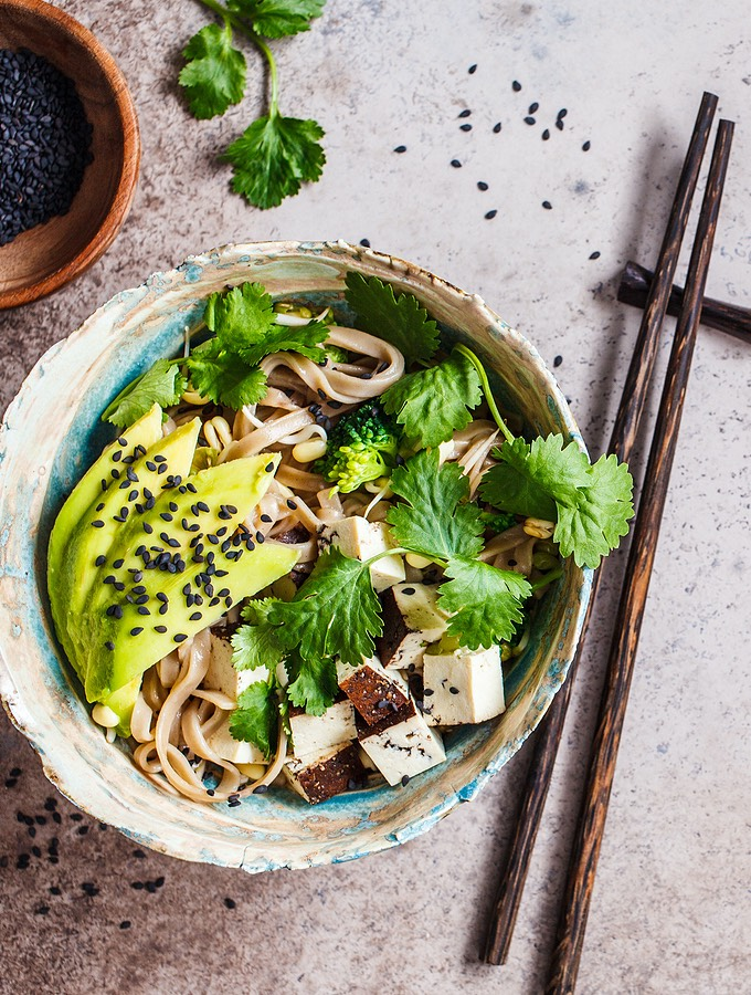 Asian noodle bowls with avocado and baked tofu
