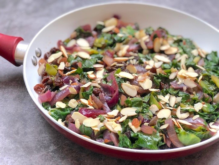 Escarole with red onion and almonds