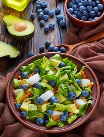Avocado and Jícama Salad with Blueberries and Roasted Corn