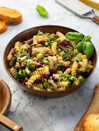 Pasta with escarole and beans