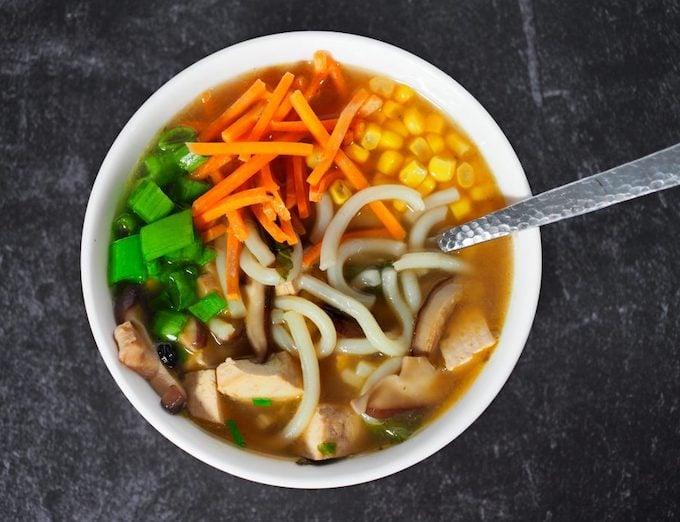 vegan udon noodle soup bowl
