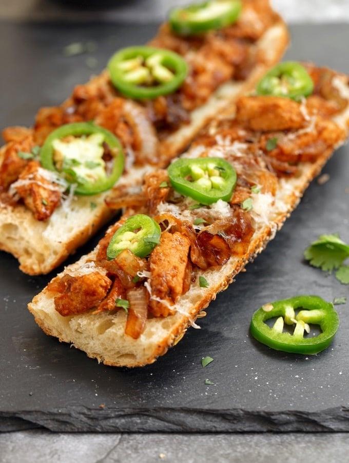 BBQ-Flavored vegan Chickn Melt Baguette