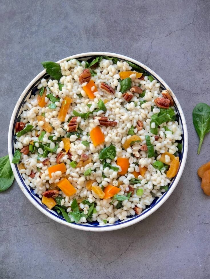 Barley salad with apricots and pecans