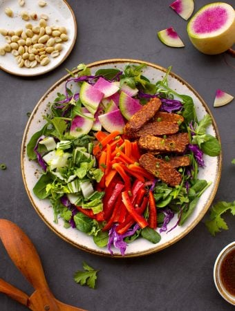 Composed tempeh salad with crisp vegetables