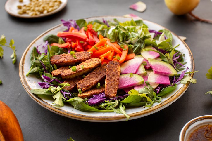Composed tempeh salad with Asian-flavored dressing