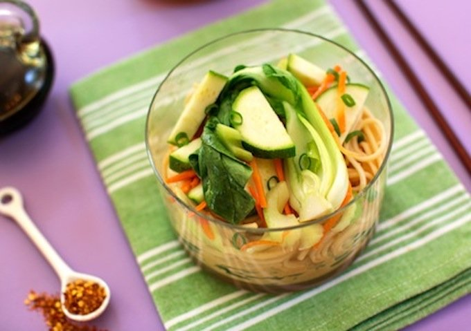 Cold Peanut Butter Sesame Noodles with crisp veggies