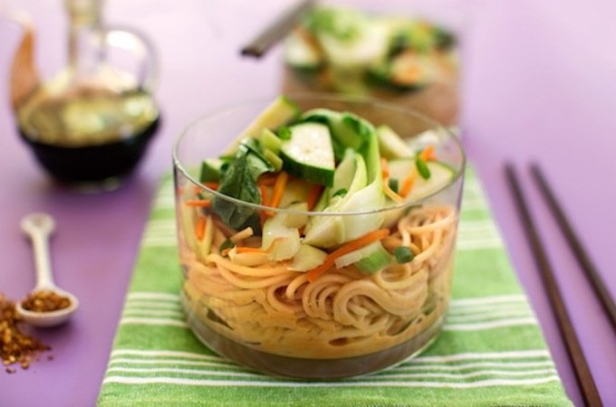cold Peanut sesame noodles with fresh vegetables