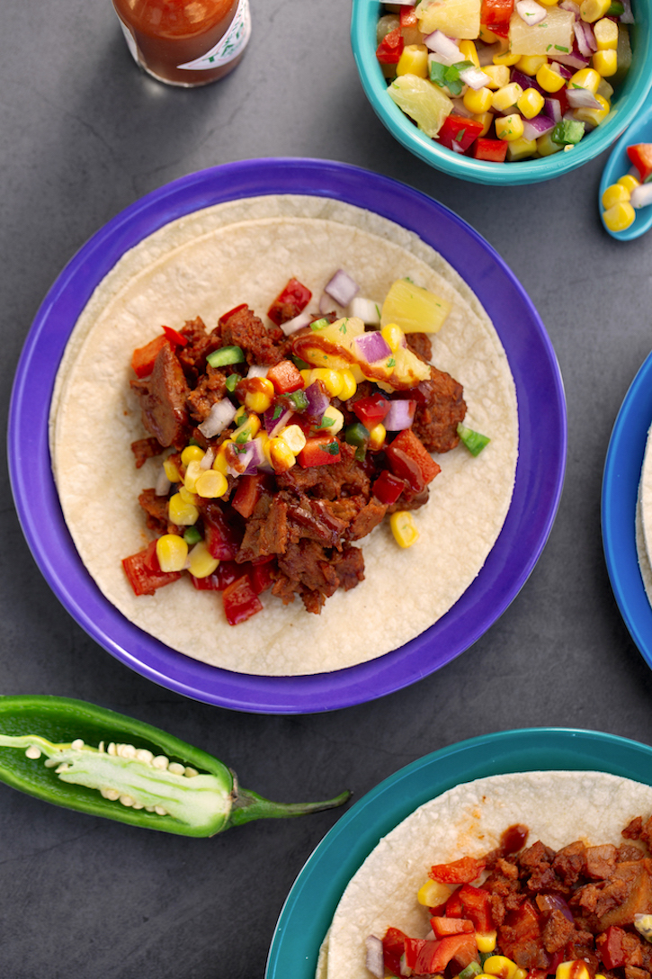 Vegan Pulled Protein Tacos with Corn-Pineapple Salsa