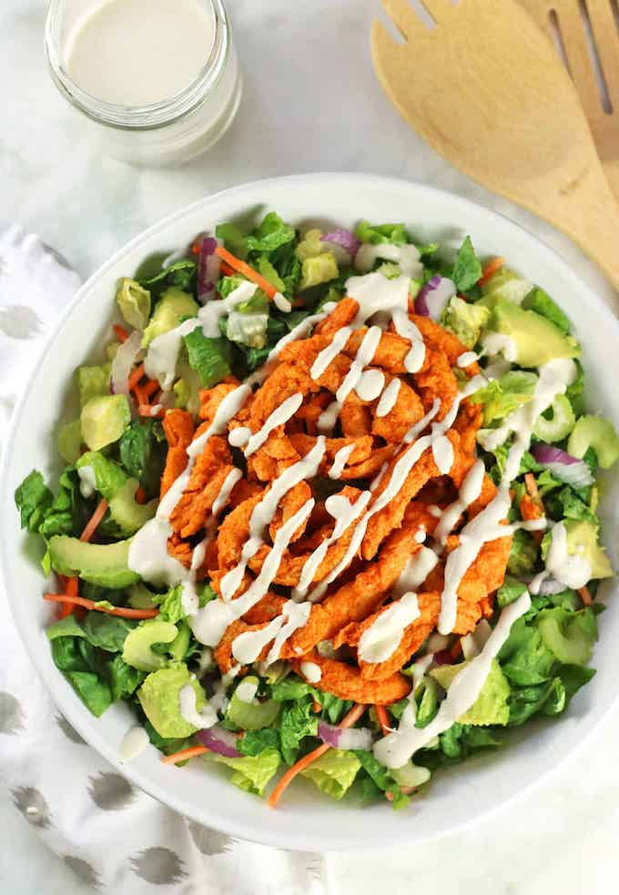 Vegan Chicken-style Buffalo soy curls salad