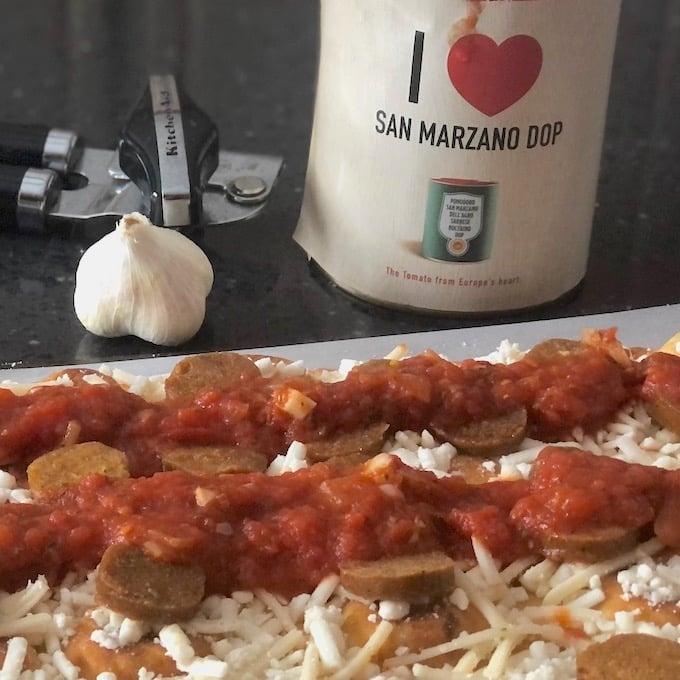 Vegan Detroit-style pizza square