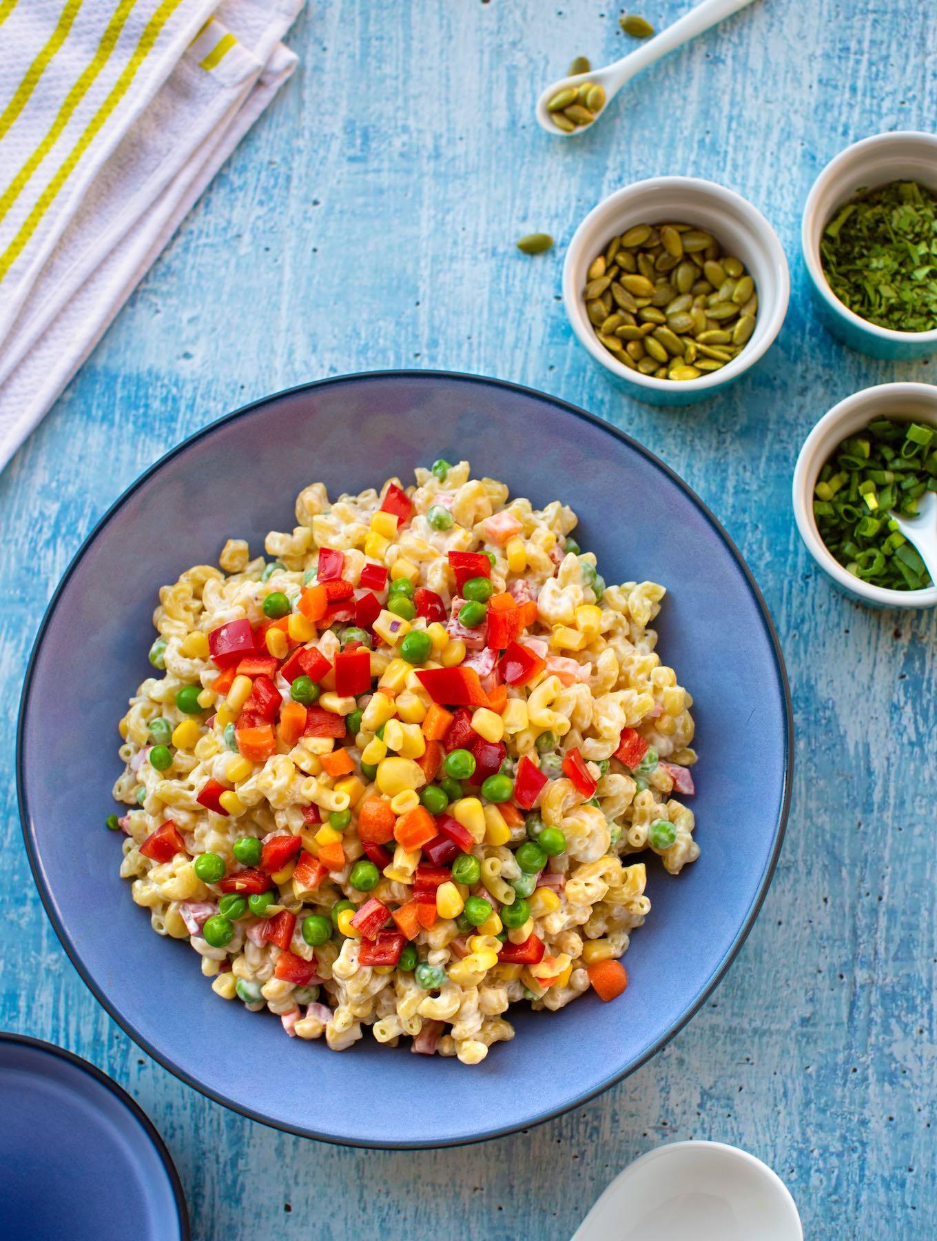vegan macaroni salad with confetti vegetables