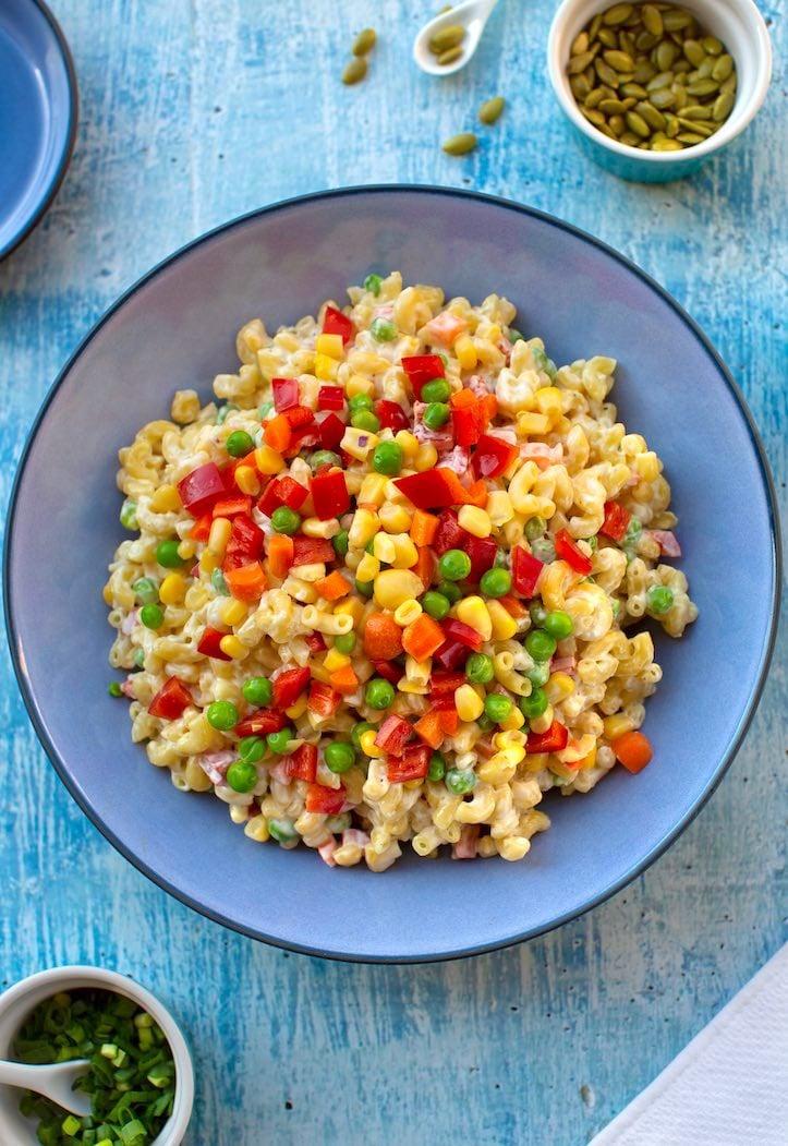 veggie-filled vegan macaroni salad