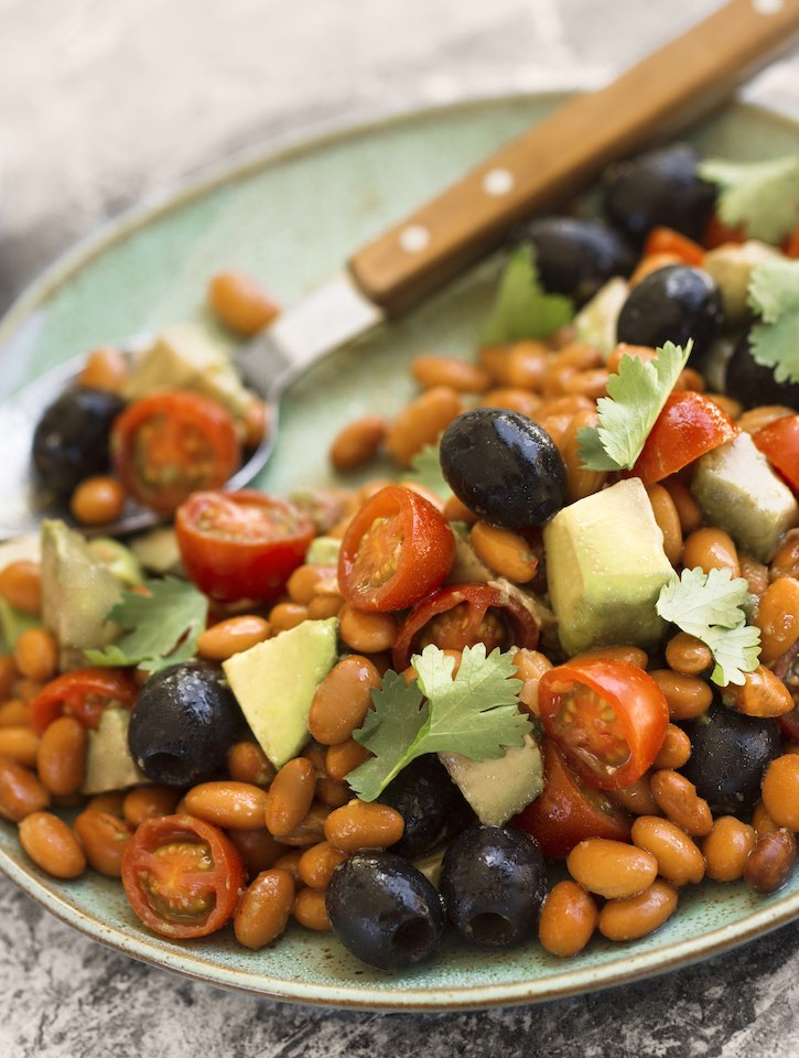 Bean and Avocado Salad with olives and tomatoes