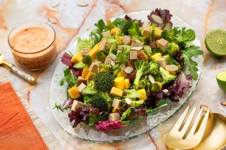Baked Broccoli and Tofu salad with mango