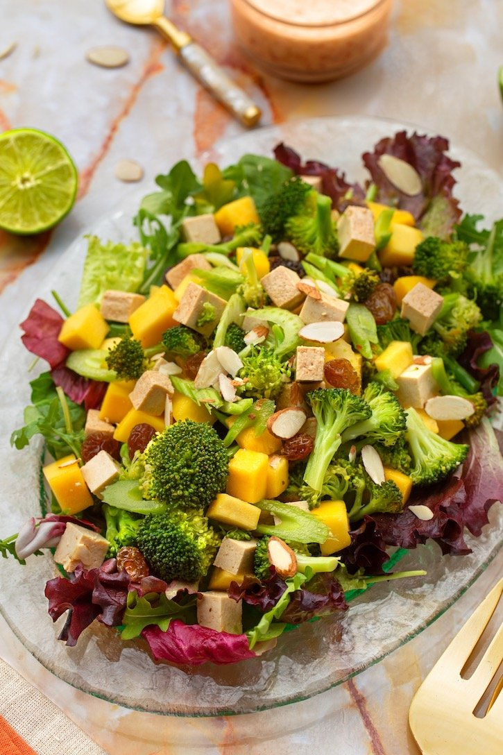 Broccoli & Baked Tofu salad with mango