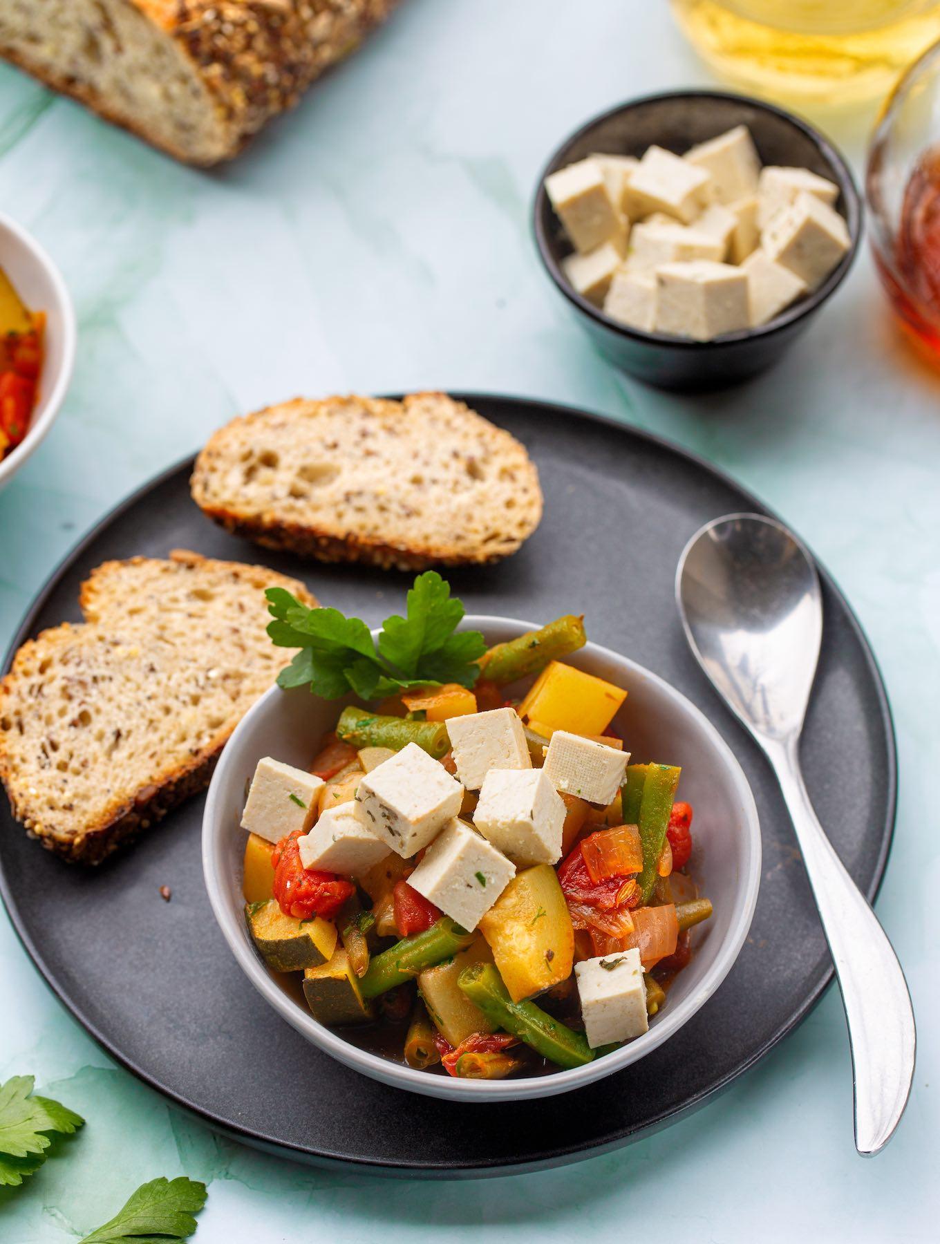Greek vegetable stew with tofu feta