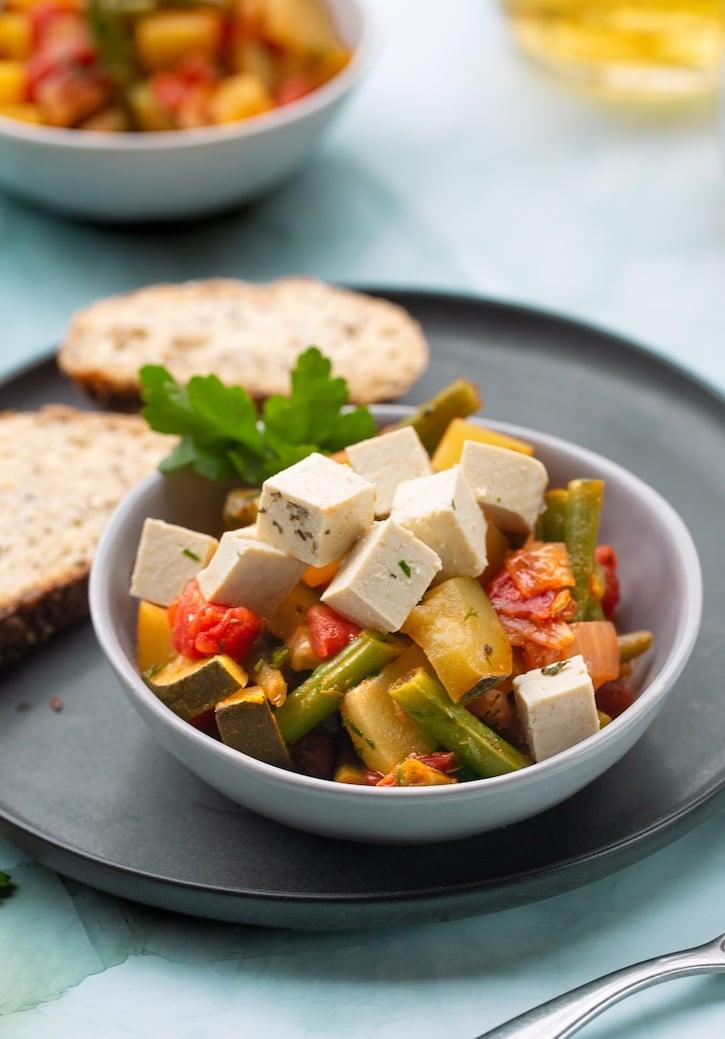 Greek-style Vegetable stew with tofu feta