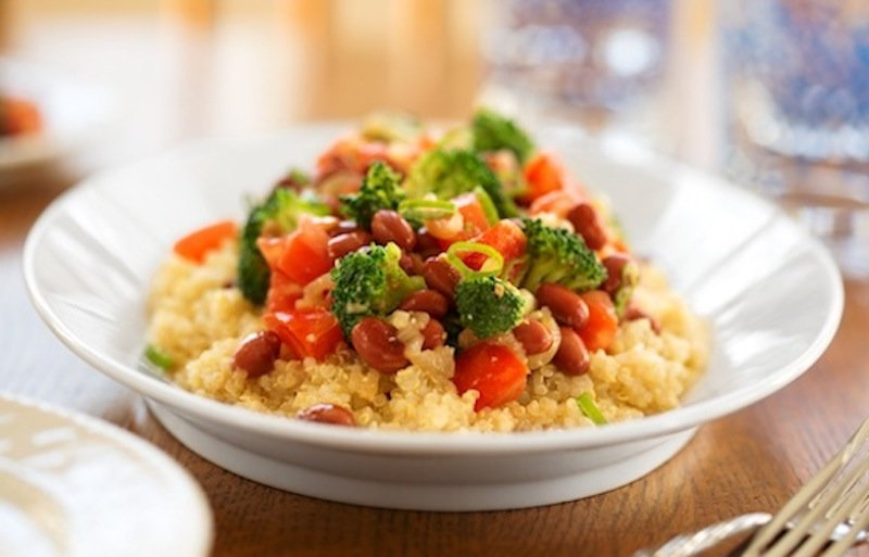 Miso-ginger red beans and broccoli