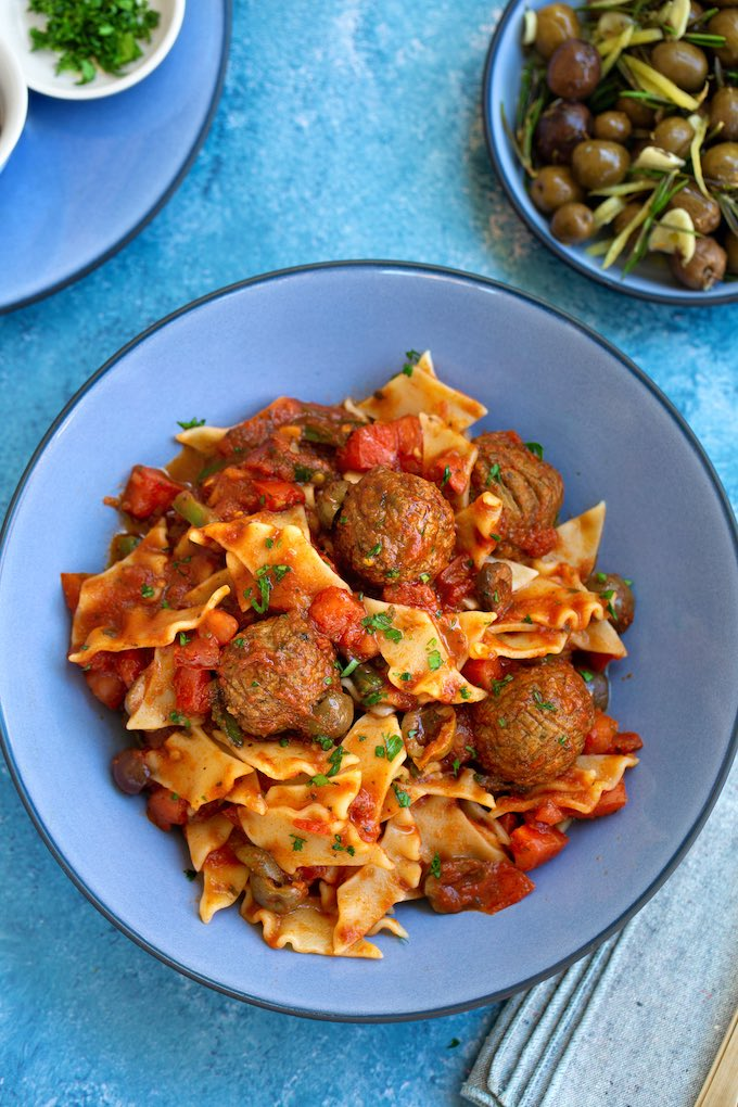 Pasta Puttanesca with Plant-based Meatballs