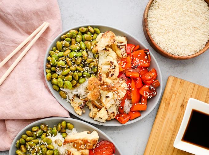 Sheet-Pan-Edamame & vegetables