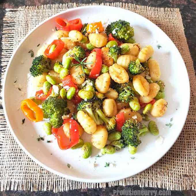 Sheet pan vegan gnocchi dinner