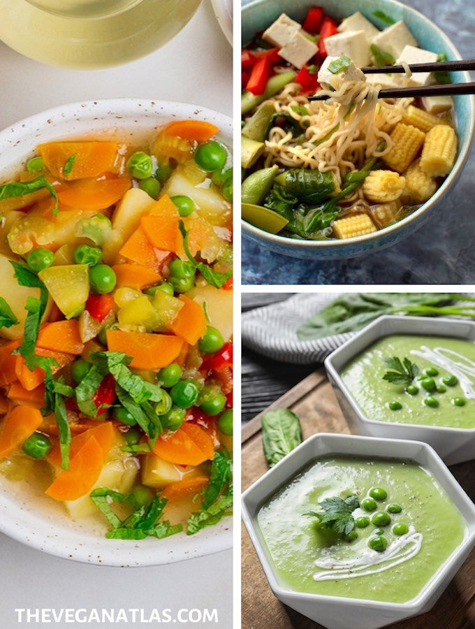 Spring vegetable soups - vegan, plant-based