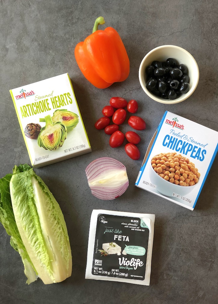 Vegan Greek salad ingredients