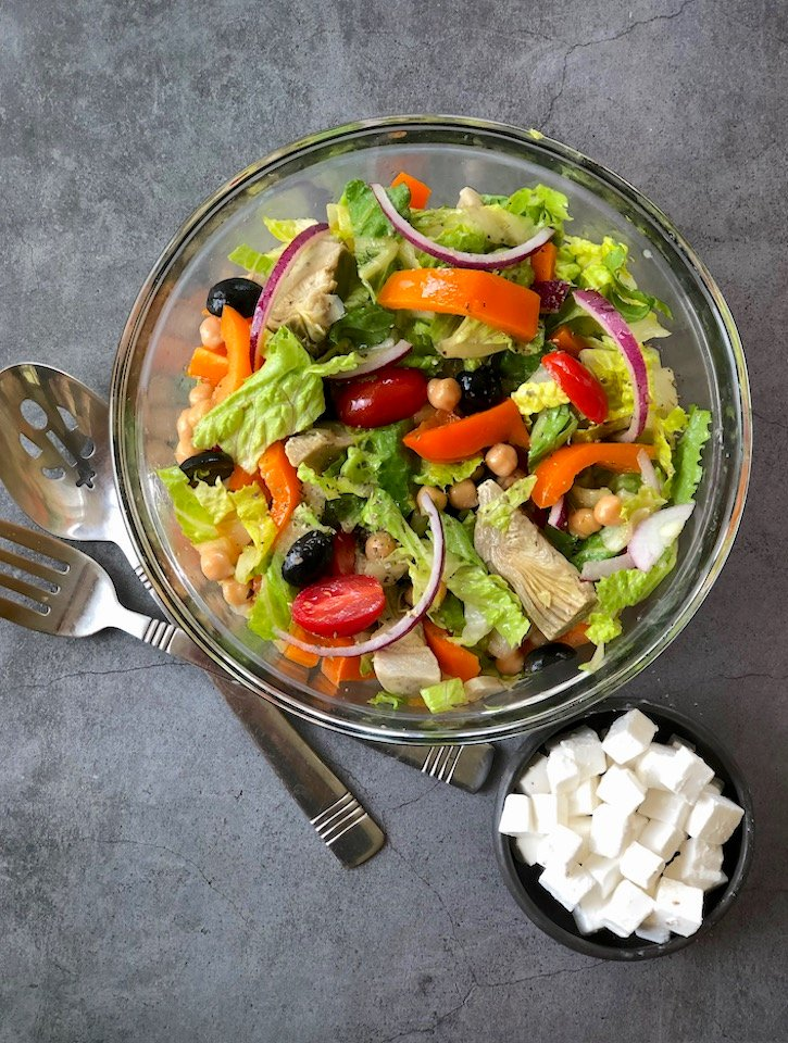 Greek Salad with Artichokes and Vegan Feta