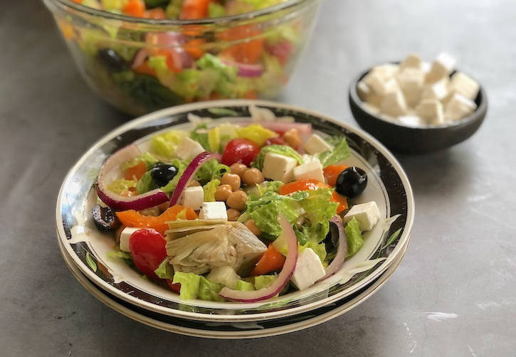 Vegan Greek salad with Artichokes and Olives