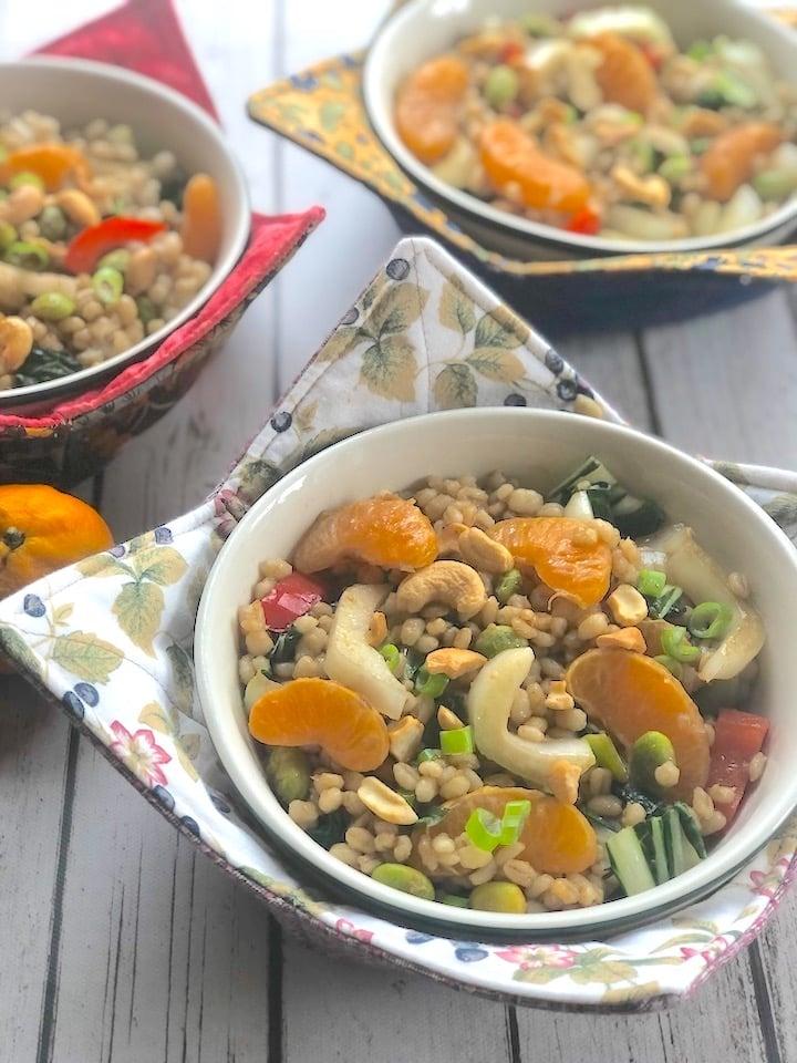 Edamame & orange spring grain bowls1