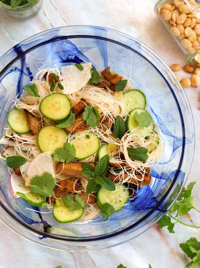 Vegan Rice Noodle Steak Salad