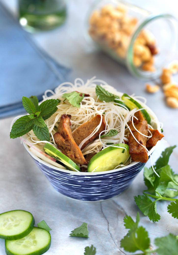 Rice Noodle Salad with plant-based