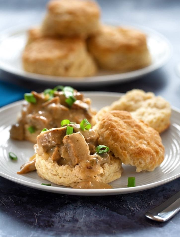 Vegan Biscuits with Plant-based Sausage Gravy