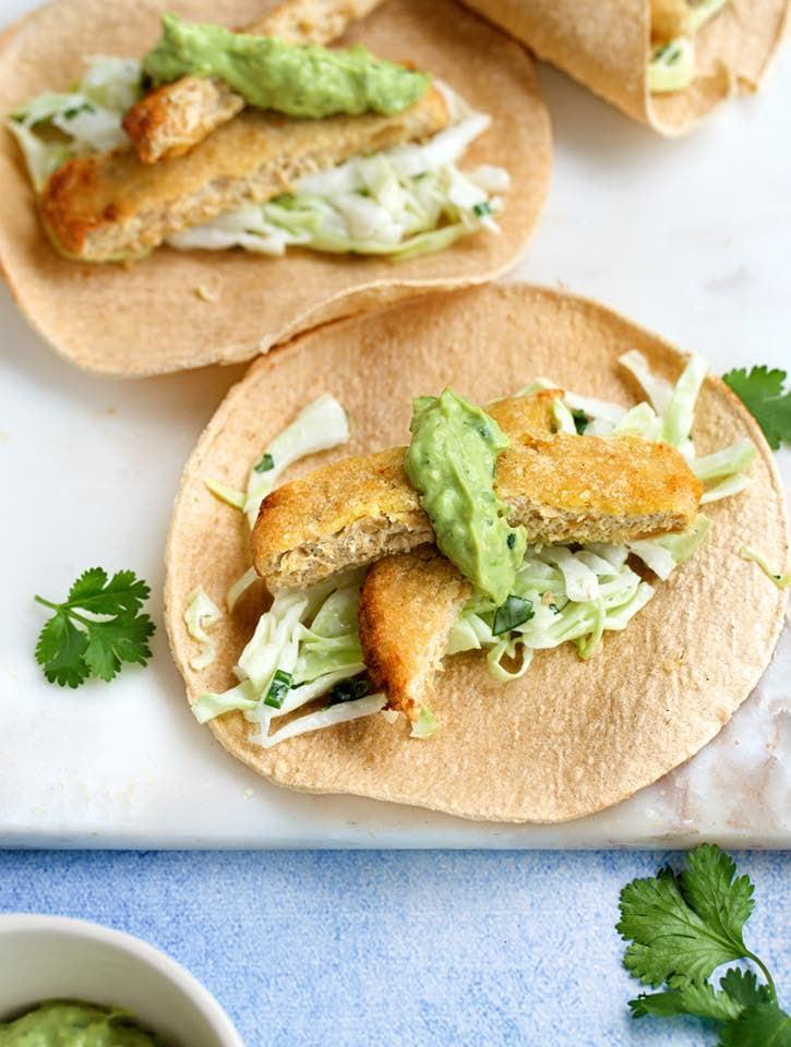 Vegan Fish Tacos with Avocado-Cilantro Cream copy