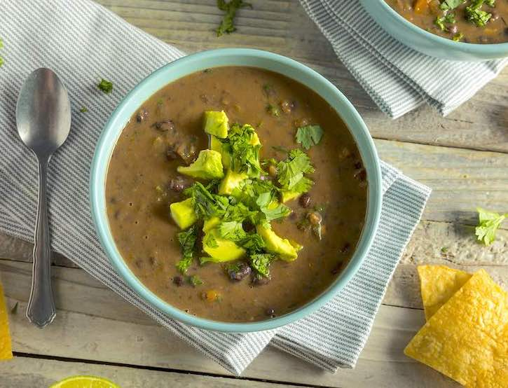 Long-simmering black bean soup