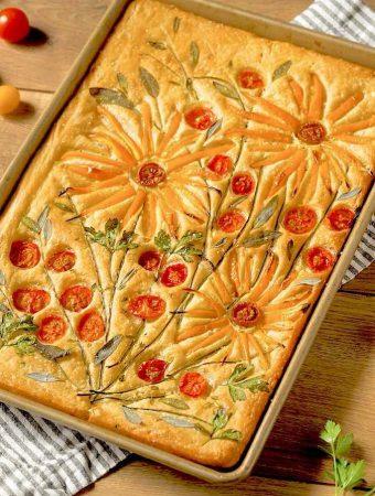 Flower Garden Focaccia Bread Art