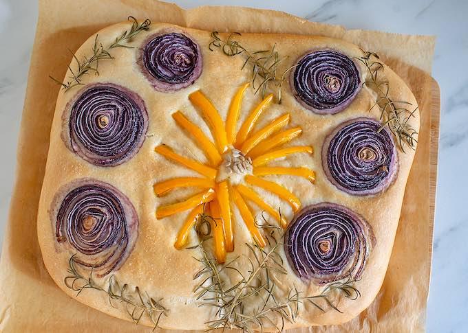 Homemade Garden Focaccia Bread