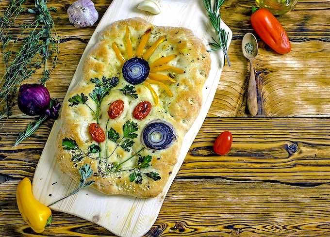 Italian Focaccia Flower Garden Focaccia Bread