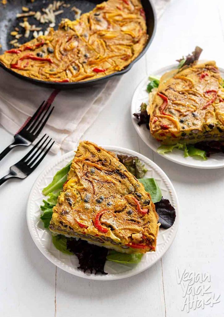Hash Brown-Crusted vegan frittata