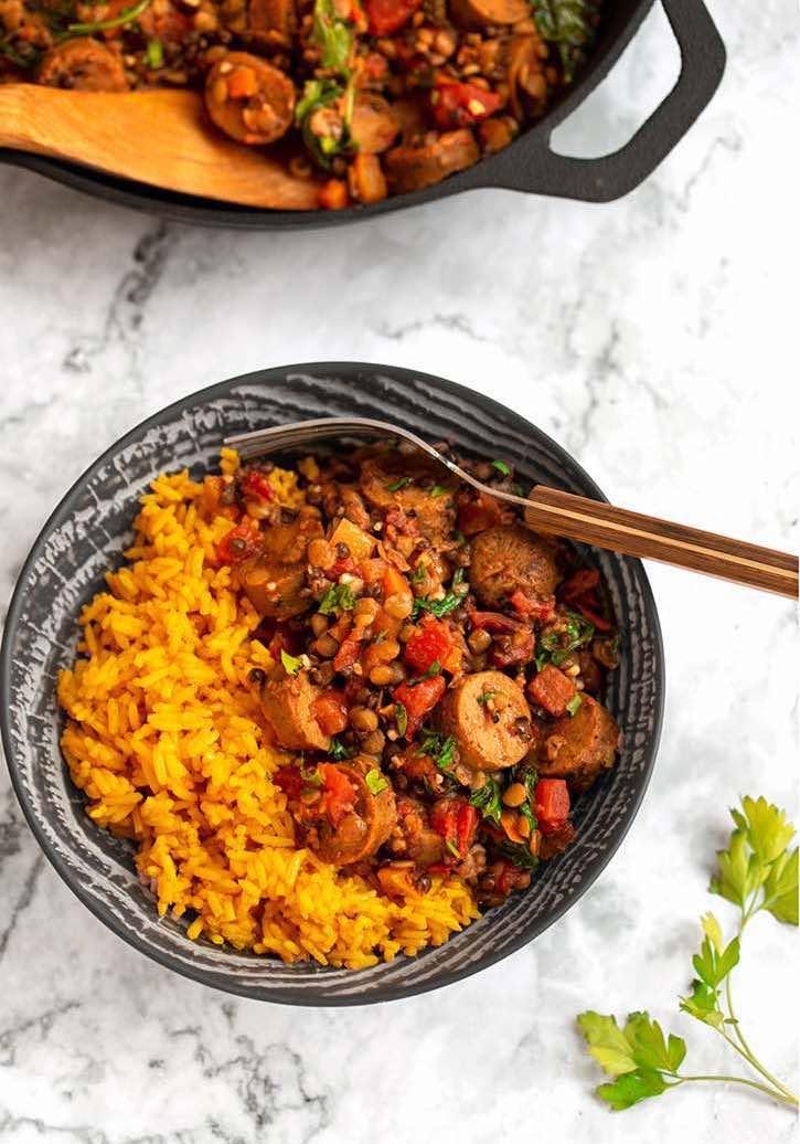 Smoky Lentils with Vegan Sausage & Yellow Rice