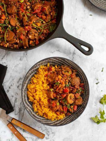 Vegan Lentils with Sausage & Yellow Rice1