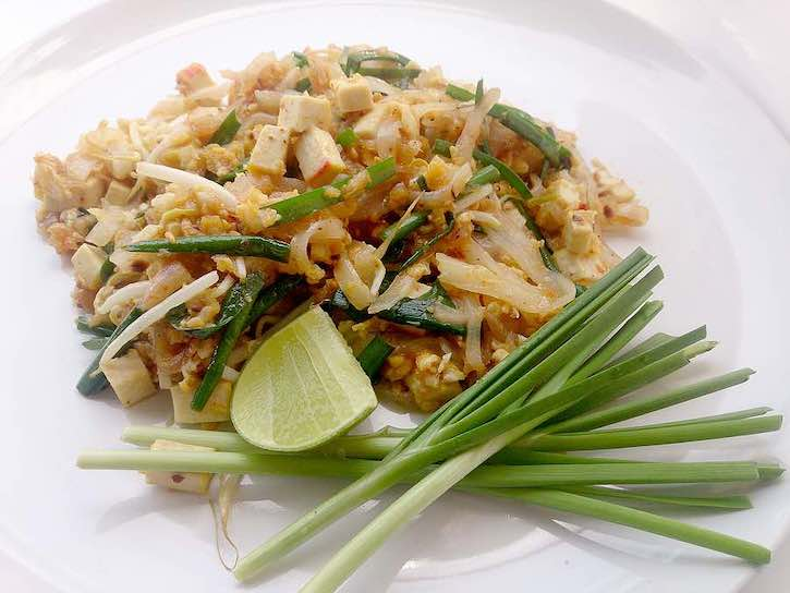 Easy vegan pad thai with plant-based protein