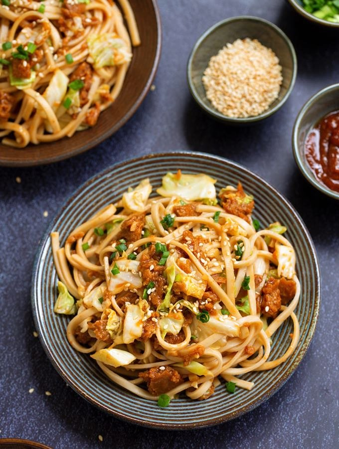 Vegan Spicy Asian Noodle Stir-Fry with Spicy Ground & Cabbage