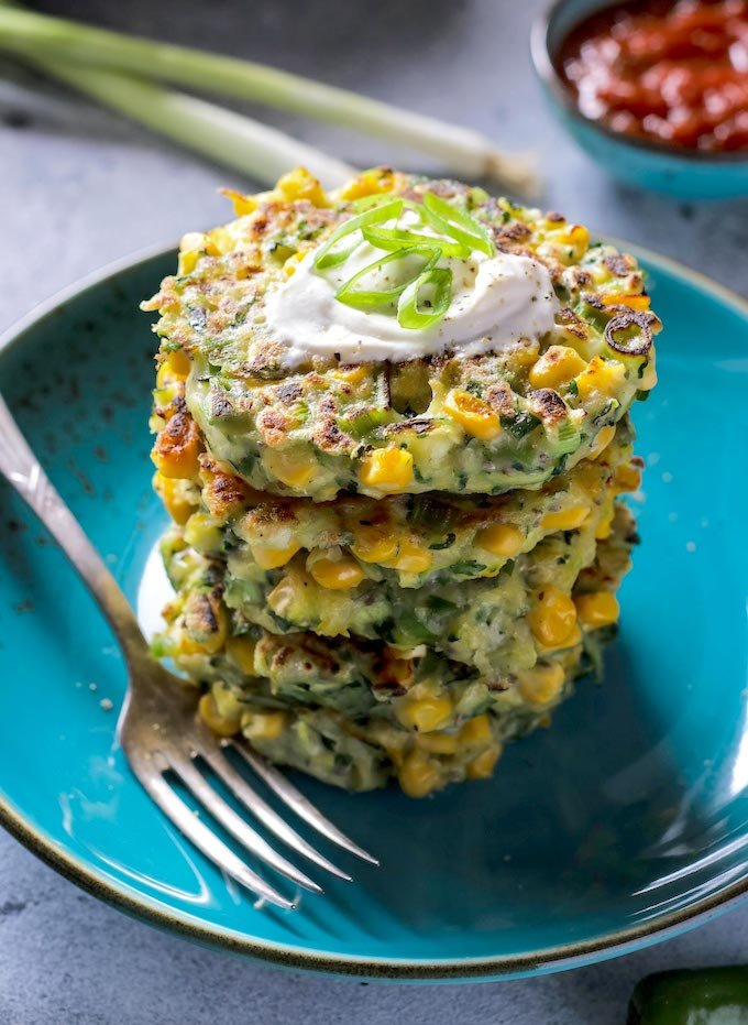 Vegan Zucchini Corn Fritters-Stalked-on-a-Plate