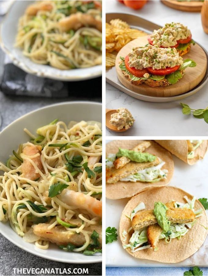 Vegan seafood recipes graphic