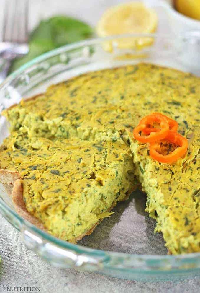 vegan spinach artichoke quiche
