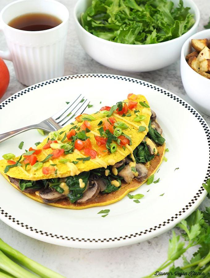 Vegan spinach mushroom omelette