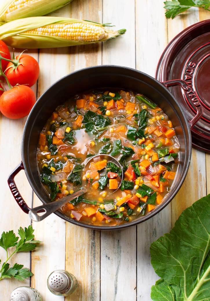 Collard greens stew with corn & sweet potatoes